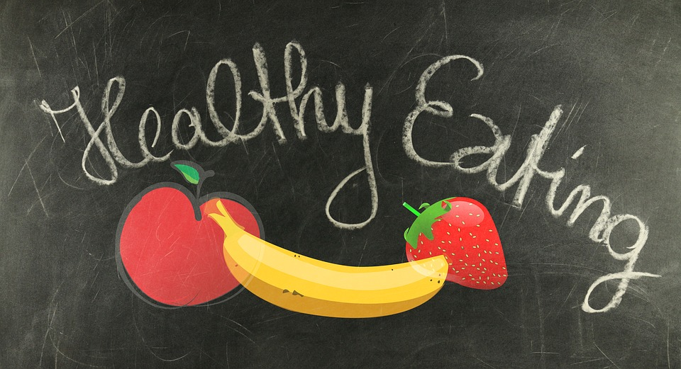 healthy eating written on chalkboard image