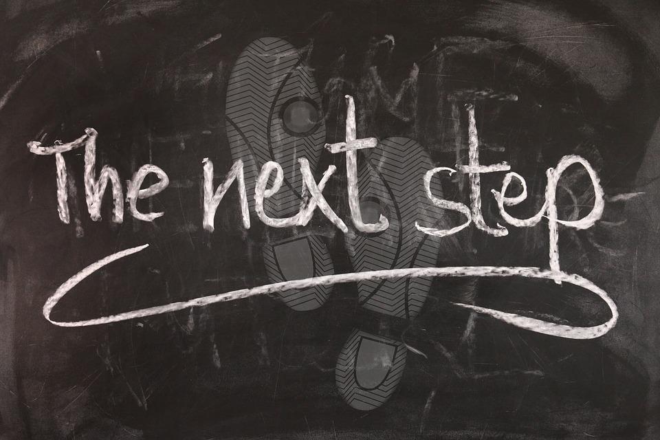 """""""the next steps"""" written on chalkboard image"""