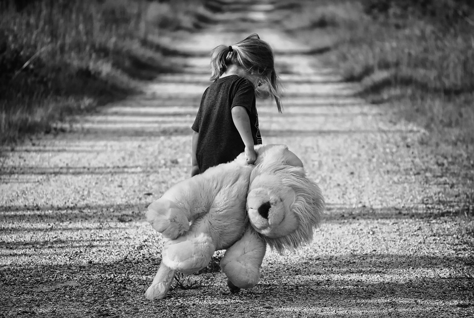 Little Girl Carrying Stuffed Animal Image