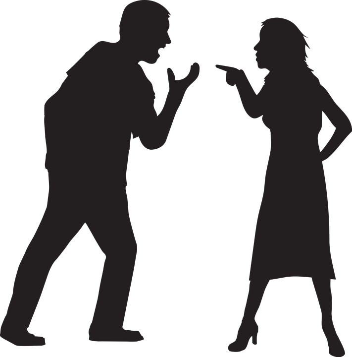 silhouette couple arguing image