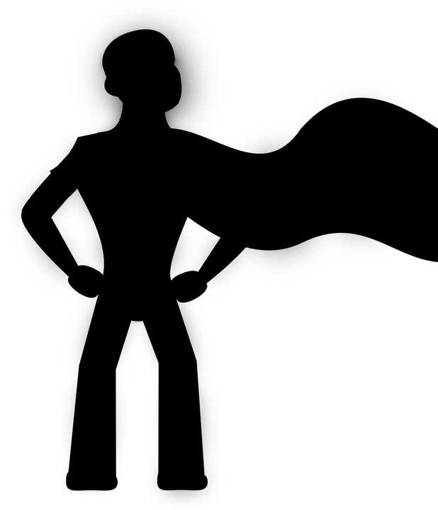 Silhouette of a hero cartoon image