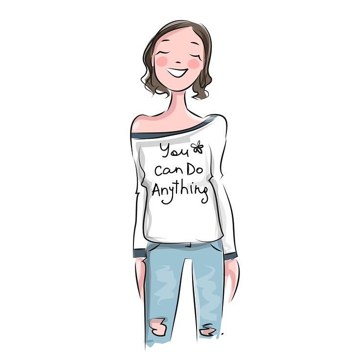 "Woman Wearing Shirt Saying ""You Can Do Anything"" Image"