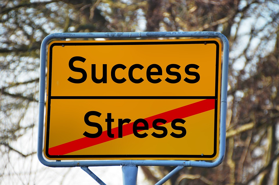 sign crossing out stress and leaving success image