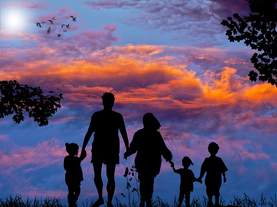 family holding hands image