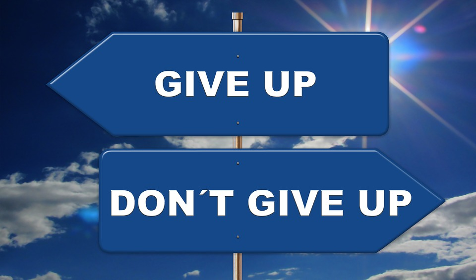 Road Sign Saying Give up or Don't Give Up Image
