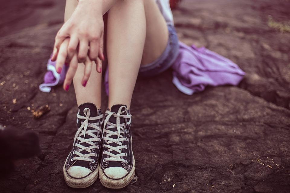 Teenager Wearing Sneakers Image