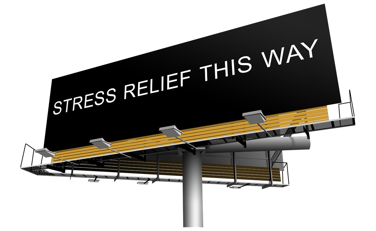 billboard saying stress relief this way links to article