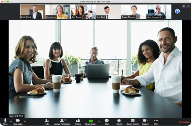 Add your meeting room link (Zoom, etc) below.  When people click, they will join your room with a meeting in progress.