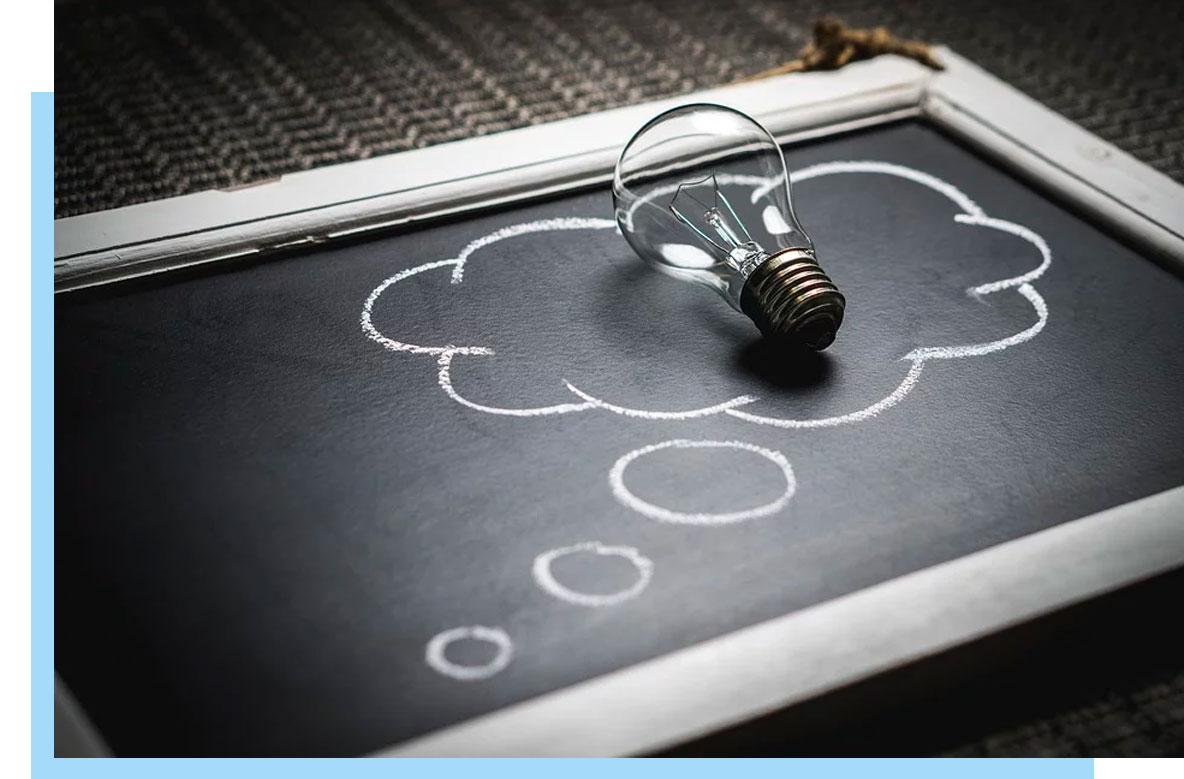 Light bulb idea board